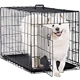 BestPet Large Dog Crate Dog Cage Dog Kennel 48 Inches Pet Puppy Playpen Outdoor Metal Wire Folding Travel Camping Crate with Divider Double Door Plastic Tray