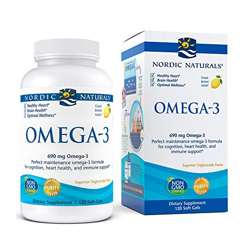 Nordic Naturals Omega-3, Lemon Flavor - 690 mg Omega-3 - 120 Soft Gels - Fish Oil - EPA & DHA - Immune Support, Brain & Heart Health, Optimal Wellness - Non-GMO - 60 Servings