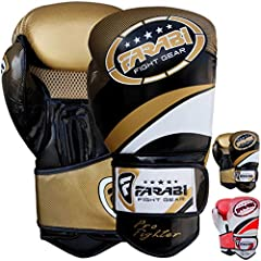 Farabi Boxing Gloves Boxing Gloves for Training Punching Sparring Muay Thai Kickboxing Gloves (Golden, 14Oz)