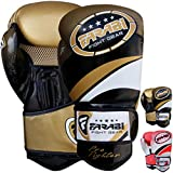 Farabi Boxing Gloves Boxing Gloves for Training Punching Sparring Muay Thai Kickboxing Gloves (Golden, 16Oz)