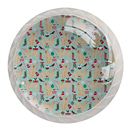 Manijas para cajones Perillas para gabinetes Perillas Redondas Paquete de 4 para armario, cajón, cómoda, cómoda, etc.. Golden Retrievers Christmas Fabrics Xmas Dog Christmas Fabrics Tela para perros