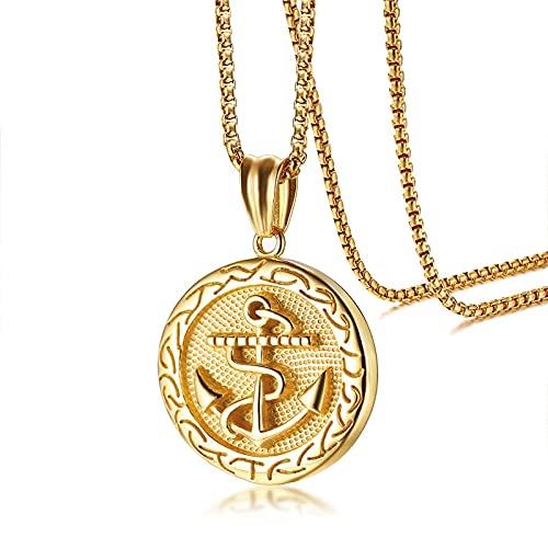 VAWAA Charms Anker Halskette Edelstahl Gold Farbe 60cm Kettenlänge Runde Anhänger Navigation Schmuck Zubehör