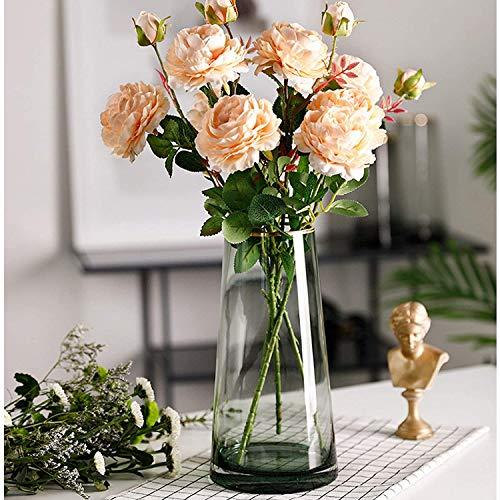 Glasvase, Ins Style handgemachte kristallklare Blumenvase Gold Linie Mund dekorative Vase Blumenblume Pflanzenbehälter für Home Office Dekor, Geschenk für Hochzeit Weihnachten Einweihungsparty