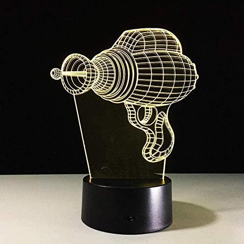 3D illusie lamp nachtlampje in de vorm van een elektrische boormachine voor kinderen glijbaan decoratie voor slaapkamer tafeldecoratie geschenk verjaardag optisch licht kerstcadeau USB 7 kleuren (afstandsbediening)