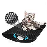Afombra para Gatos, Diseño de Doble Capa de Nido de Abeja de Caja de Arena para Gatos a Prueba de orina, Control de Basura Limpio y Simple