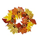 Corona artificial otoño hojas de arce calabaza calabaza falso Garland para granja porche puerta delantera Acción de Gracias Cosecha Festival Decoración de la pared Corona de otoño