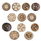 Aweisile Botones Madera 100 piezas Botones de Coco Botones de Costura Redondos Botón de Coser 2 Agujeros Botones Costura botones manualidades para Coser Artesanía de bricolaje Decoración,18mm