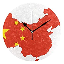 Dozili China Map Round Wall Clock Arabic Numerals Design Non Ticking Wall Clock Large for Bedrooms,Living Room,Bathroom