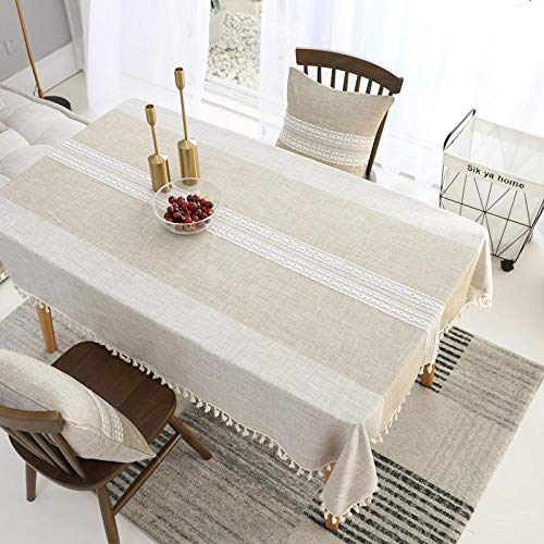 Kuingbhn Shop Rectangle Tablecloth Fabric Jacquard Tassel Quality Durable Table Cover Wedding Decorations Beige 140X240cm