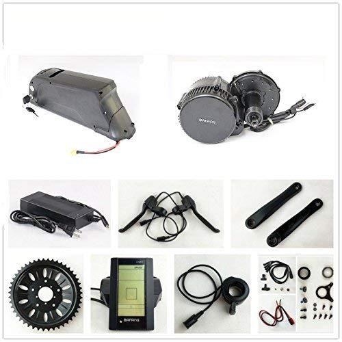 HYLH Kits de conversión de Motor de accionamiento de cigüeñal Bafang 8fun de 36V 500W + 36V 11.6AH Down Tube Atlas Frame Case Panasonic Cell Battery con Cargador 2A