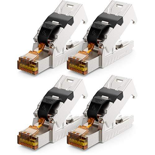 deleyCON 4X CAT 6a Netzwerkstecker RJ45 mit LSA Anschluss Werkzeuglos für Starre Verlegekabel LAN Kabel Netzwerkkabel RJ45 Stecker CAT6a Geschirmt Metallgehäuse 10Gbit/s