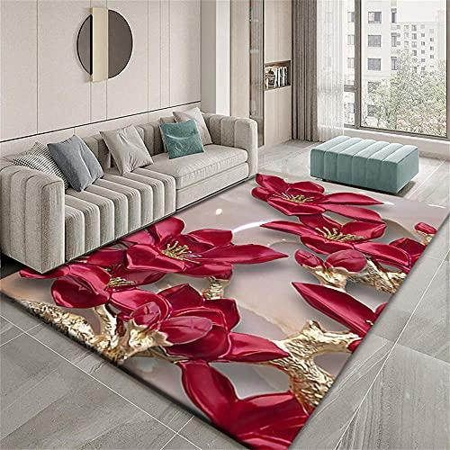 Alfombras Acusticas Cojin Suelo Infantil Diseño gráfico Abstracto del patrón de Flor Tridimensional del Oro Rojo 3D Alfombras Vinilicas Salon 80X160cm