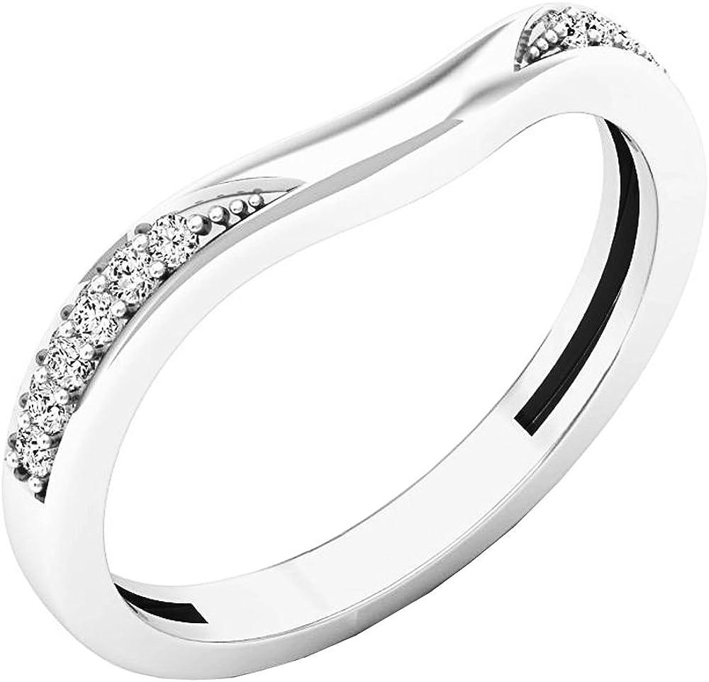 Dazzlingrock Collection 0.10 Carat (ctw) 14K Gold Round Diamond Ladies Anniversary Wedding Band Guard Ring 1/10 CT