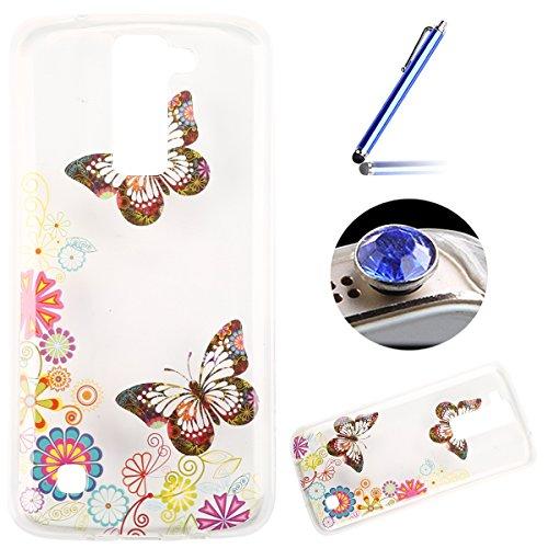 LG K8 Coque, Etsue pour LG K8 Vogue Gel Housse étui de téléphone mobile ,TPU Silicone Matériau Transparente Ultra Mince Supérieur Semi Transparent Doux Coque [couleur de papillon] Motif pour LG K8 + Gratuit 1 x Bleu stylet + 1 x Bling poussière plug (couleurs aléatoires)