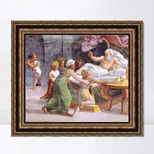 "INVIN ART Framed Canvas Art Giclee Print Series#063 by Raphael/Raffaello Sanzio Wall Art Living Room Home Office Decorations(Vintage Embossed Gold Frame,24""x24"")"