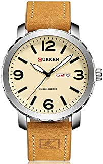 Curren Men's Leather Strap Watch Style With Date And Arabic weekend Name