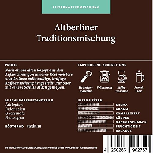BKR | Kaffee | Altberliner Traditionsmischung | Arabica | Mischung 1000g Bohne
