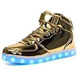 IGxx Men LED Light Up Sneakers for Men High Top LED Shoes Light Up USB Recharging Shoes Women Glowing Luminous Flashing Light Shoes LED Kids Halloween Gold