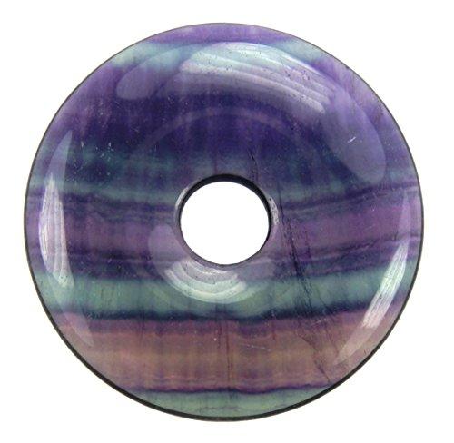 Lebensquelle Plus Fluorit Edelstein Donut Ø 40 mm Anhänger Regenbogenfluorit