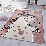 VIMODA kinderzimmer kinderteppich Pony Einhorn Teppich Flauschig für Kinderzimmer Spielzimmer, Maße:160x230 cm