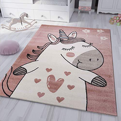 VIMODA kinderzimmer kinderteppich Pony Einhorn Teppich Flauschig für Kinderzimmer Spielzimmer, Maße:120x170 cm