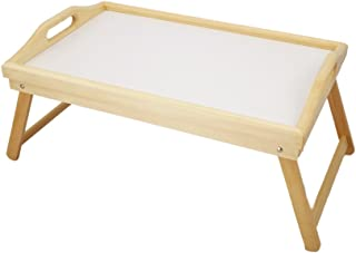 """ObboMed® HR-3550 Flip-Top Adjustable Natural Wooden Laptop Bed Breakfast Tray/Table with Foldable Lap Stand-30 x 50 x 5 cm/11.8""""W x 19.6""""L x 2""""H"""