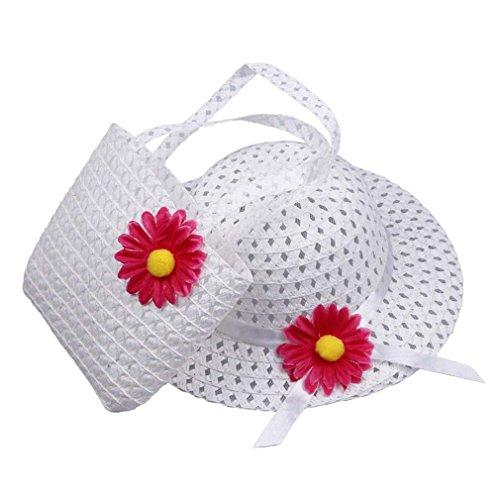 EOZY Blanco Sombrero Para Bebé Niñas Niños Sol Gorra Y Paja Bolso