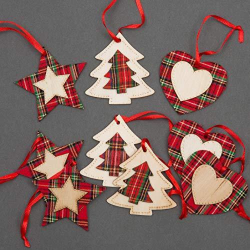Shatchi, decorazioni per albero di Natale in legno, per decorazioni estetiche da appendere, set di 9 pezzi, decorazione per la casa a 3 stelle, 3 cuori, 3 pezzi a forma di albero (8 cm)