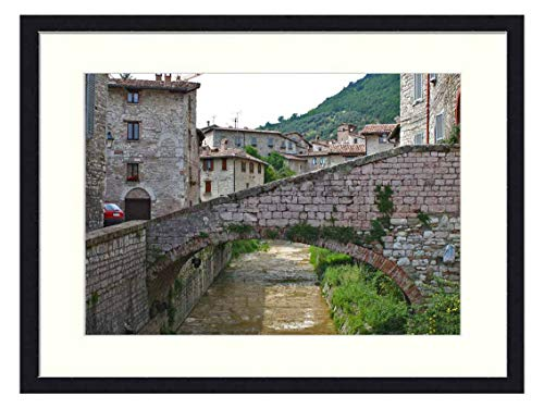 OiArt Wall Art Print Wood Framed Home Decor Picture Artwork(24x16 inch) - Gubbio Italy Umbria Architecture Building Outdoor