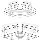 Hedume 2 Pack Corner Shower Caddy - No Drilling, SUS 304 Stainless Steel, Rustproof and Waterproof Adhesive Bathroom Shelf, Storage Organizer Racks for Shower, Toilet, Bathtub, Dorm and Kitchen