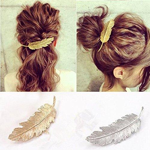 OULII 2pcs plume / Leaf forme Clip broche griffe accessoires pour cheveux (or + argent)