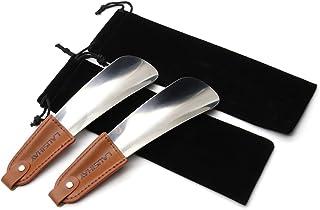 2 pc Chausse-pied - Chausse-pied acier inoxydable avec lanière en cuir - Élégant chausse-pied portable en 16 cm- Facile à ...