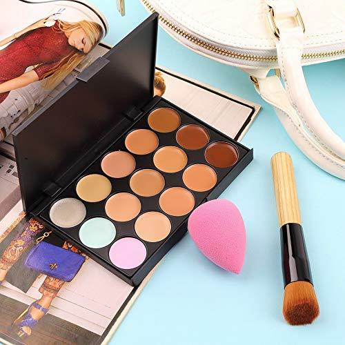 15 Colors Concealer 15 Color Pro Concealer Face Primer Crème Contour Palette Maquillage Correcteur Base Palette Sponge Puff Powder Brush - Multicolore