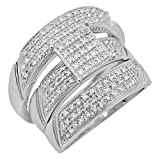 0.65 Carat (ctw) Round White Diamond Men's and Women's Engagement Ring Trio Set, Sterling Silver