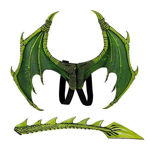 Romote 1 Satz Kinder Fantasie Dragon Wings Kostüm Halloween Dinosaurio Drachen Kostüm Tier Flügel- Und Schwanz Zubehör Partei Props (Grün)