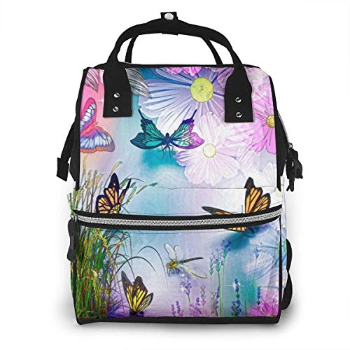 NHJYU Sac à langer, Large Capacity Waterproof Travel Ma-na-ger,baby Care Replacement Bag Versatile Stylish And Durable, Suitable For Mom And Dad,Abstract Image Of Different Butterflies