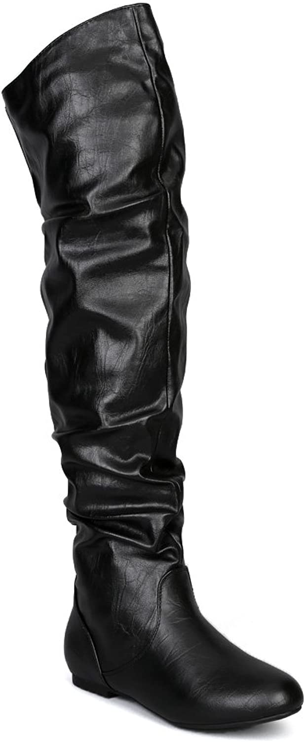 Nature Breeze AC09 Women Leatherette Slouchy Thigh High Boot - Black