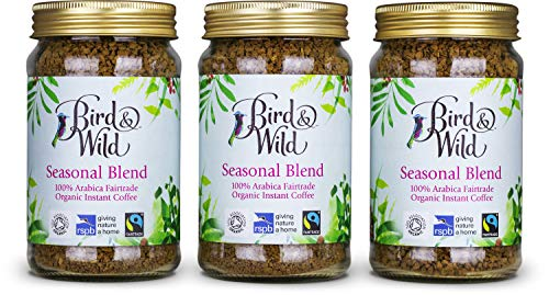 Café instantáneo soluble natural orgánico Bird & Wild, RSPB de comercio justo, 3 tarros de 100g, paquete de 3, total de 300g, equivalente a 150 tazas de café, 100% arábica