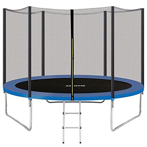 AMGYM Trampolin 305 cm Sports Outdoor Gartentrampolin Komplettset inklusive mit Sicherheitsnetz, Leiter, Randabdeckung & Zubehör Kindertrampolin Belastbarkeit 200 kg TÜV GS EN71 Zertifiziert