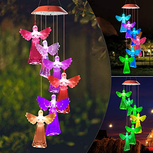 JOBOSI Angel Wind Chimes, Angel Gifts, Gifts for mom, Garden Decor,Memorial Wind Chimes, Color Change Wind Chime, Yard Decor, Grandma Gifts, Angel