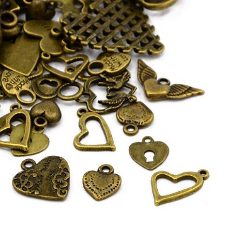 Tibetanische Herz Charme/Anhänger Antik Bronze 5-40mm Paket Von 30g