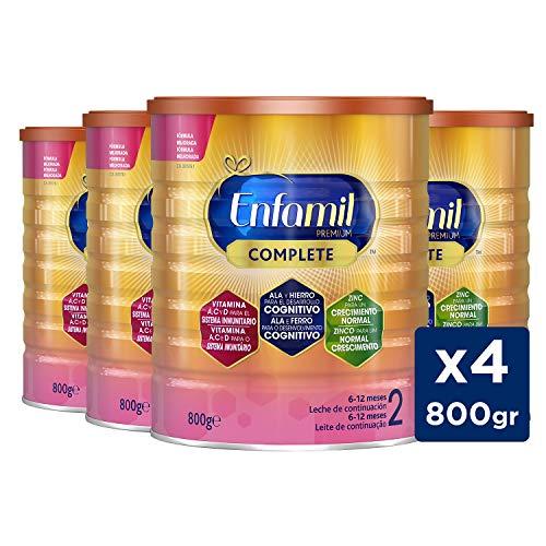Enfamil Complete 2 - Fórmula leche infantil de continuación para lactantes bebés de 6 a 12 meses - Pack mensual de 4 latas x 800 gr