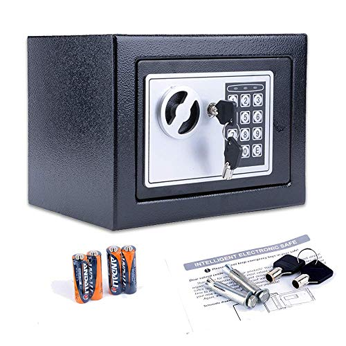 BATHWA Digital Electronic Safe Security Box, Small Wall-Anchoring Safe for Home & Office, Cabinet Safe with Keypad for Money, Jewelry, Cash, Gun - with Batteries and Tools