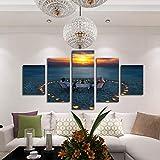 Seascape Hd Picture 5 Piezas Sunset Scenery Blue Beach Love Room Decoración Kavas Art 30 * 40 * 230 * 60 * 230 * 80Cm Sin Marco WODES