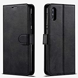 STARSHOP – Samsung Galaxy A10s Phone Case, [Not Fit A10/S10/A11] Included [Tempered Glass Screen Protector], Premium Leather Wallet Pocket Cover and Credit Card Slots – Black
