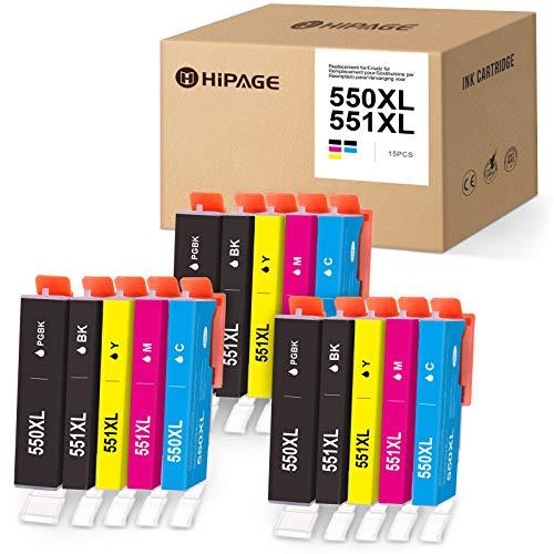 HIPAGE Cartucho de tinta compatible con Canon PGI-550 CLI-551 para Canon PIXMA MG5450 MG5550 MG5650 MG6350 MG6450 MG6650 MG7150 MG7550 MX725 MX925 iP7250 iP8750 iX8750 6850. Paquete de 15 unidades.