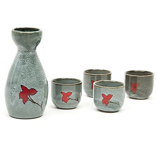 4 tlg Sake Set Handgemalte Keramik Japanischer Sake-Set Stil aus Steinzeug Porzellan mit Dekor Sake-Garnitur (1x Flasche / Karaffe + 4 Becher )170 ML
