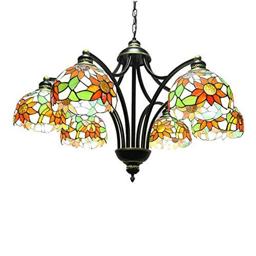 Oujie Tiffany Middellandse Zee-plafondlamp, handmatige puzzel ronde vorm 6 koppen ijzeren kunstglas lamp, woonkamer slaapkamer eetkamer in hoogte verstelbare kroonluchter