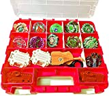 HOME4 Upgraded Double Sided No BPA Toy Display Storage Container Box - Compatible with Mini Toys, Small Dolls, Tools Beyblade - Heavy Duty Organizer Carrying Case - 34 Adjustable Compartments