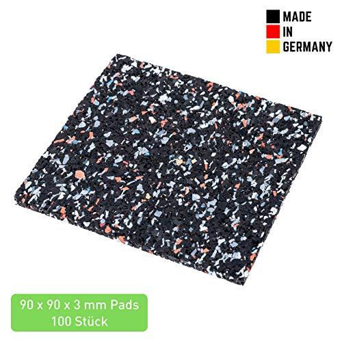 Terrassenpads 90 x 90 x 3mm (100 STK.) - Terrassen Pads aus Gummi - Unterlegpads aus Gummigranulat für Pool und Balkon - Gummipads für WPC Terrassendielen und Terrassenplatten - Schwarz